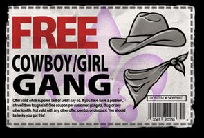 Gang Customization in Saints Row 2 - Cowboy gang unlock coupon.png