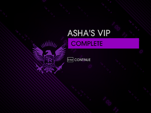 """""""Asha's VIP"""" mission completion screen"""