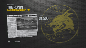"""""""Laundry Day"""" mission completion screen"""