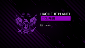 """""""Hack the Planet"""" mission completion screen"""