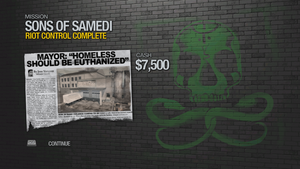 """""""Riot Control"""" mission completion screen"""