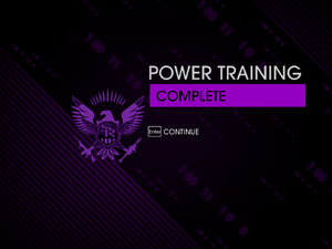 """""""Power Training"""" mission completion screen"""