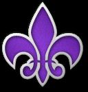 """The fleur-de-lis icon of the 3rd Street Saints, featuring their """"Saints purple"""" colour"""