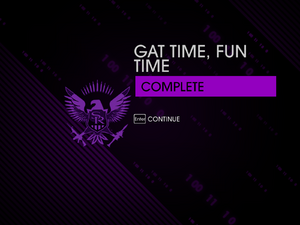"""""""Gat Time, Fun Time"""" mission completion screen."""