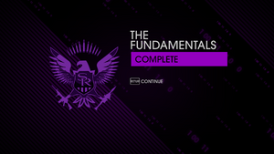 """""""The Fundamentals"""" mission completion screen"""