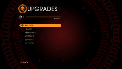 Upgrades menu in Gat out of Hell