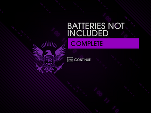 """""""Batteries Not Included"""" mission completion screen"""