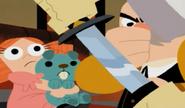 Ep 29 man hit on nose when Jack drew sword, ginger girl holding blue animal doll