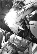 Kirito schneidet Raios beide Arme ab.