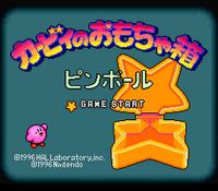 The title screen for Kirby no Omocha Hako: Pinball