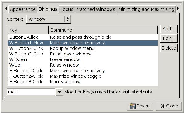 Bindings configurator.