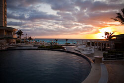 Sunrise over Le Meridien Cancun pools.jpg