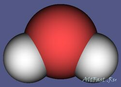 Схематичное изображение молекулы воды