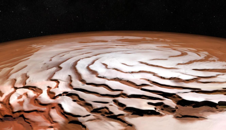 Закручивающиеся спирали на северном полюсе Марса