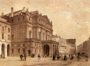 XIX century print, Piazza della Scala, Milano.jpg