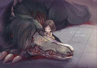 in this picture SCP-682 is letting SCP-053 draw on him