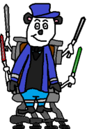 Mr Archibald Panda (using robotic chair with four colored sabers)