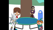 Bloo, Sneezy, Mac, Imelda and Silver with a Trampoline