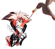 Seagull Bites Alastor's Nose by Thebackgroundponies2016Style