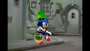 Sonic Dress as St. Patrick 's Day with a Green Hat and Green Eggs