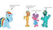 Zoe, Abby, and Rosita complement Rainbow Dash