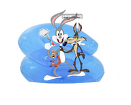 Bugs Bunny, Squeaks and Wile E. Coyote Sitpop Their Inflatable Chair By Bouncing On and Putting A Push Pin It