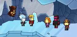 Scribblenauts Unmasked Flying Fox, Spark, Centrix, Plastique, and Freight Train.png