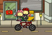 Maxwell and Lily in a bike
