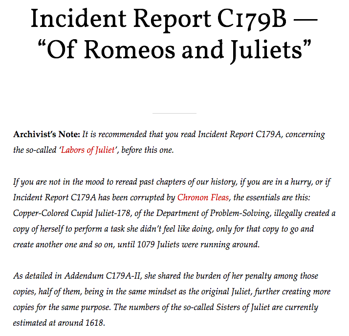 """Incident Report C179B – """"Of Romeos and Juliets"""""""
