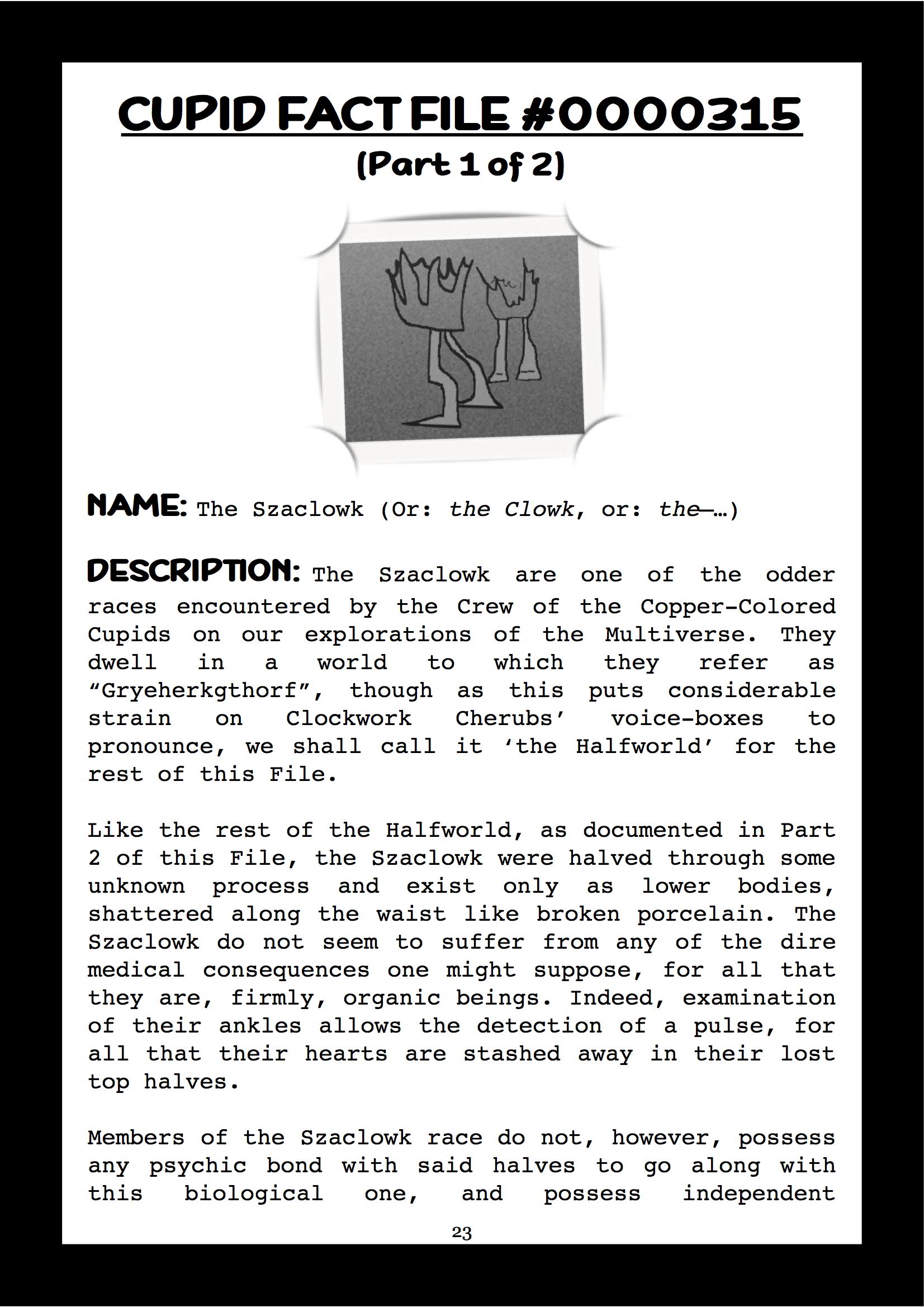 Cupid Fact File No. 315 — The Szaclowk & the Halfworld