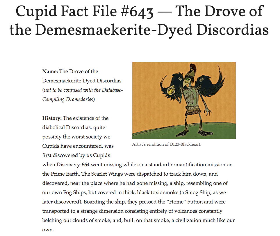 Cupid Fact File No. 643 — The Drove of the Demesmaekerite-Dyed Discordias