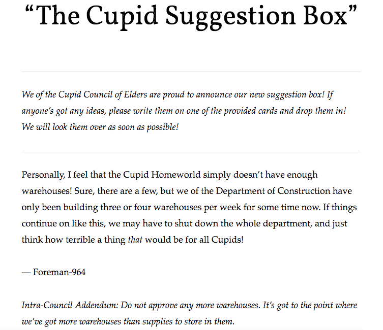 The Cupid Suggestion Box