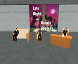 Late Night With Darwin Appleby a popular talk show event. Seen here is, Eggy Lippman, Philip Linden, and Darwin Appleby.