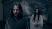 Aragorn et Arwen derrière la fresque