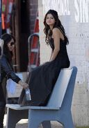 WS selena black dress making off sit down