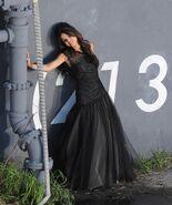 WS black dress selena wall