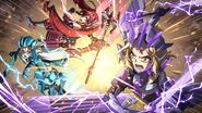 Hibiki, Lala, and Forte fight