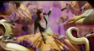 Larry plummetting into purple goo.