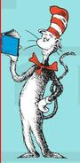 The cat in the hat selling a book seussville