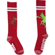 Adult Red Grinch Naughty or Nice Knee - High Socks