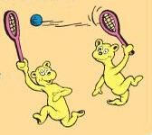 Two bears playing tennis