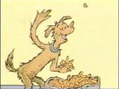 Fred throws the food to frits