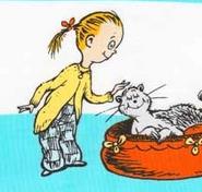Kay pets a big cat