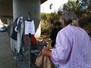 Andrew feeding under bridge