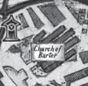 A cropped picture of the official Ketterdam map, focused on the Church of Barter.