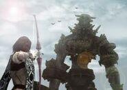 Wander disparando con su arco a Gaius