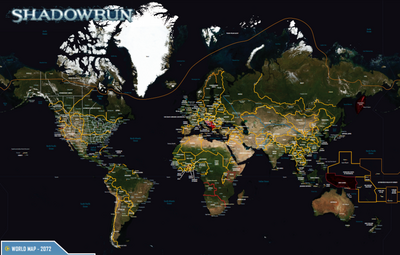 World Map from Shadowrun Sourcebook, Sixth World Almanac.png