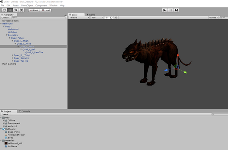 Hellhound imported to Unity with skeleton
