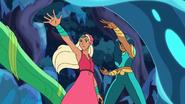 Perfuma and Mermista combine their powers to defeat an EKS(Emily's Kid Sister)bot
