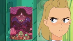 """Adora, looking at her punching bag, imagines that she is an """"evil princess"""""""